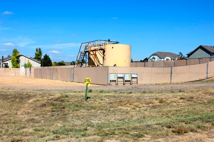 Natural gas well site on the edge of a Vista Pointe neighborhood.