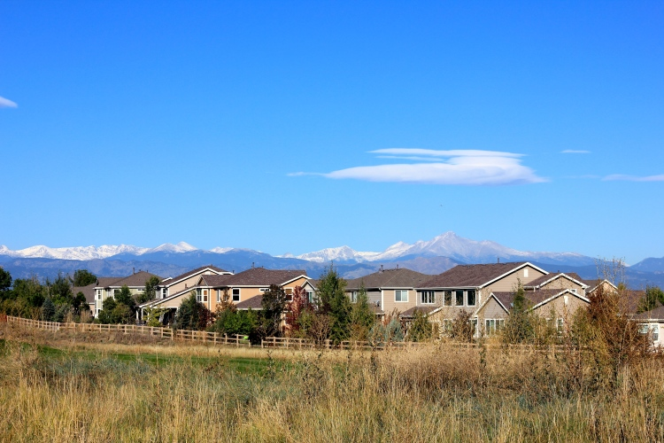 Homes in Vista Ridge, with Longs Peak in the background.